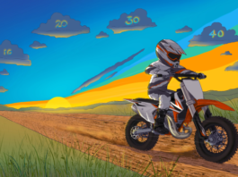 A fast KTM 50cc dirt bike on a trail with speedometer as background