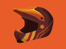 Youth birt bike helmet with a stripe and star