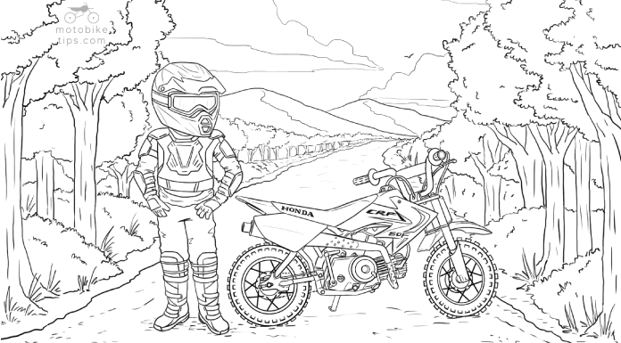 Dirt bike coloring page illustration of a youth rider standing next to his parked Honda CRF50 Dirt Bike on a off-road trail