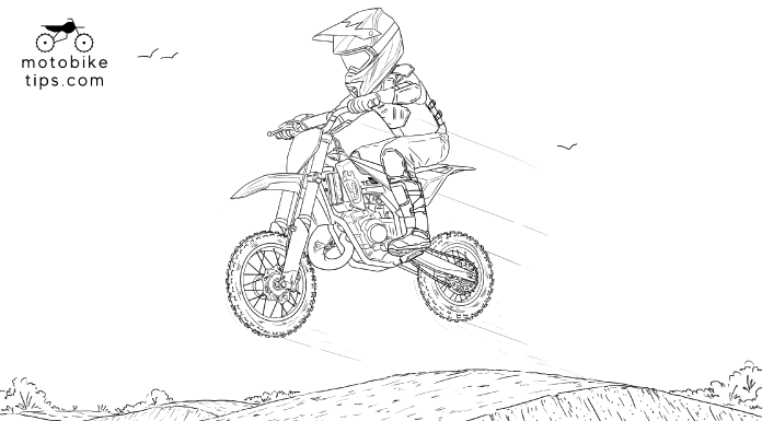 motocross coloring pages illustration of a youth on a motocross track jumping off his Husqvarna TC50 dirt bike