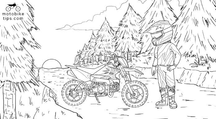 Dirt bike coloring illustration of a youth dirt bike rider standing next to his Yamaha TTR50 dirt bike on a trail with a sun rise in the background