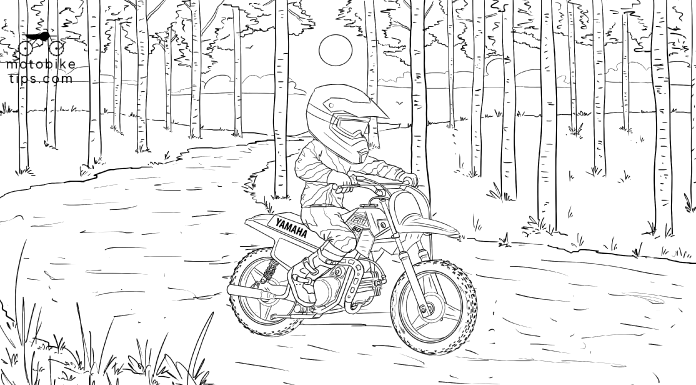 Dirt bike picture to color of a kid riding Yamaha PW50 (Peewee 50) on the trail through the woods