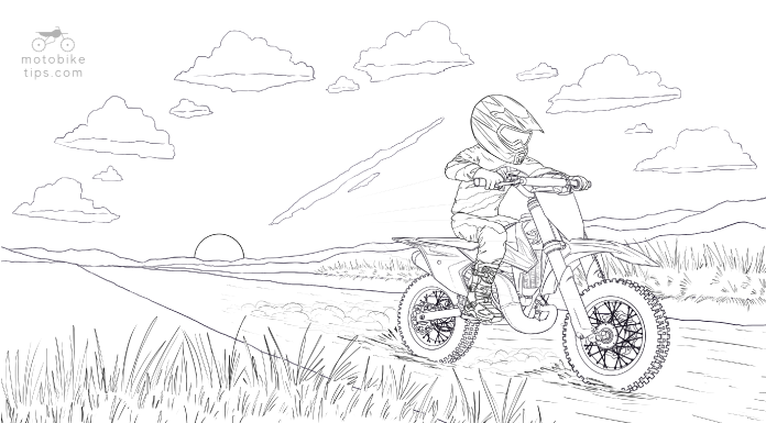 Dirtbike coloring page illustration of a young boy riding his KTM 50 SX motocross bike on a dirt trail with sunset in the background
