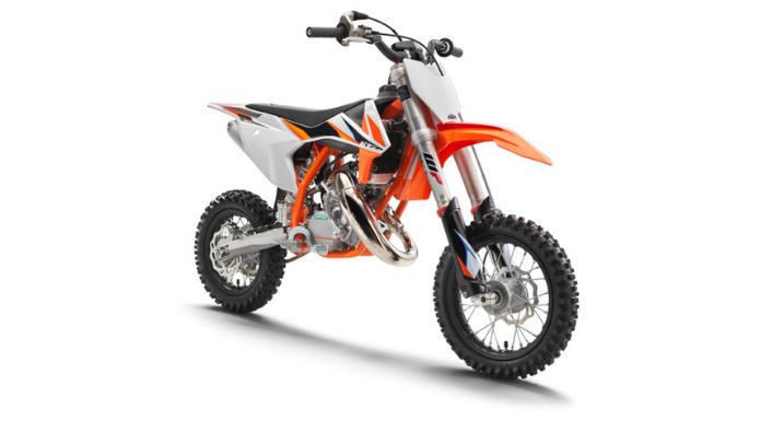 2021 KTM 50 SX Motocross Dirt Bike - front angle